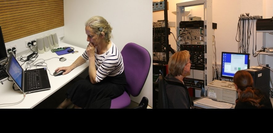 Photo of a scientist testing the cochlear implant of a patient